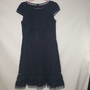 Adrianna Papell Navy Lace Cap Sleeve Dress